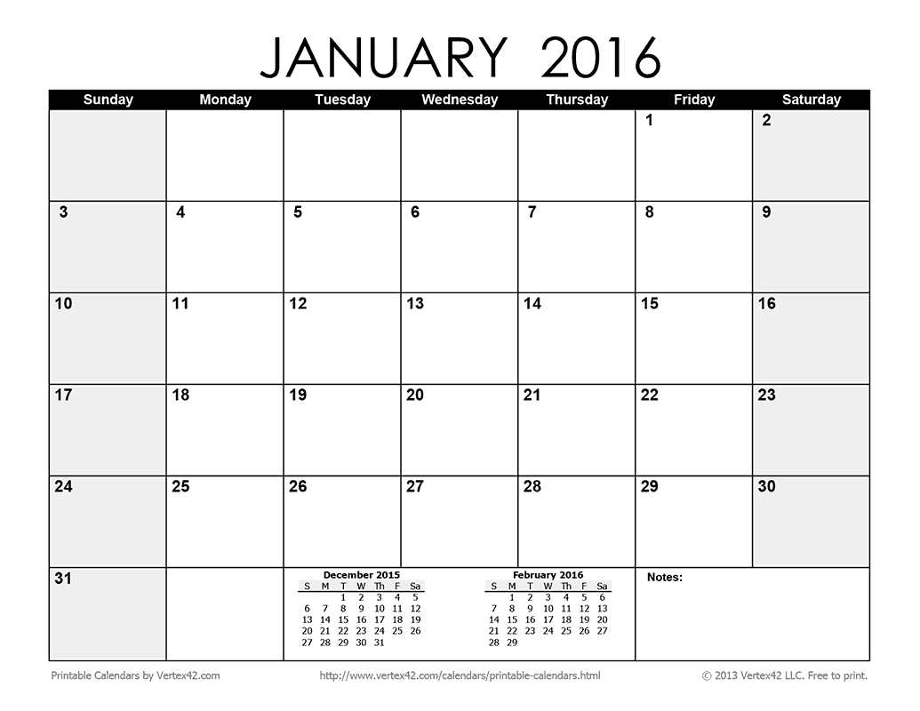 2016 Monthly Calendar Printable Pdf | New Calendar Template Site