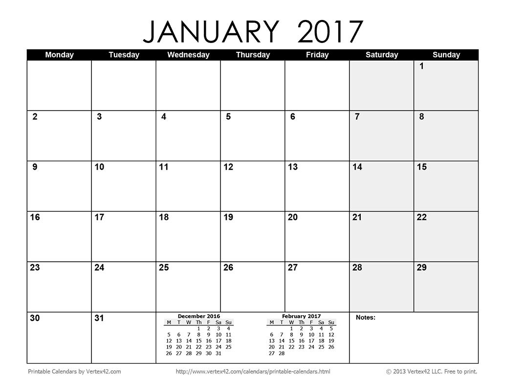 Printable Monthly 2017 Calendar