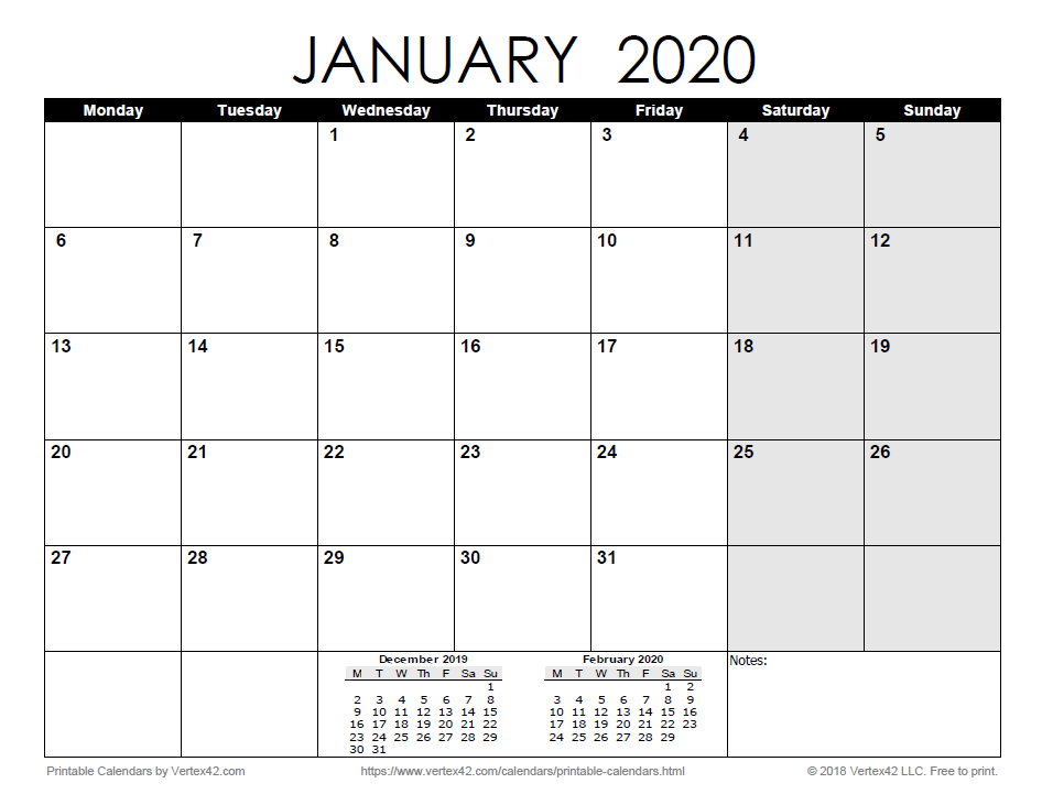 Printable Monthly 2020 Calendar