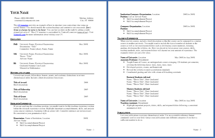 Free CV Template - Curriculum Vitae Template and CV Example