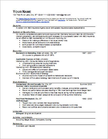 Sample Student Resume Template (Outline Format)