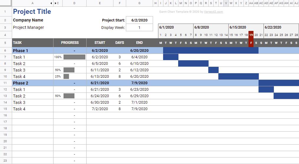 Simple Gantt Chart By Vertex42